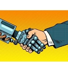 Handshake robot and man new technologies vector