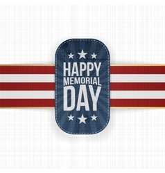 Happy Memorial Day textile Badge and Ribbon vector image