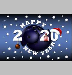 happy new year 2020 and soccer ball vector image