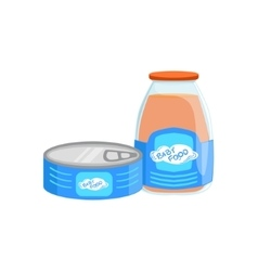 Industrial Products Tin Can With Meat And Glass vector