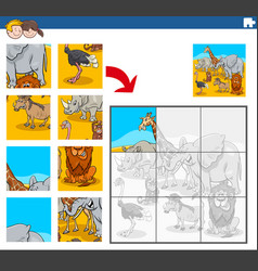 Jigsaw puzzle task with african animal characters vector