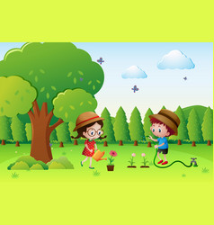 kids watering plants in garden vector image