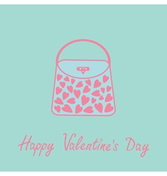 Love bag with hearts Love card Blue and pink Flat vector image