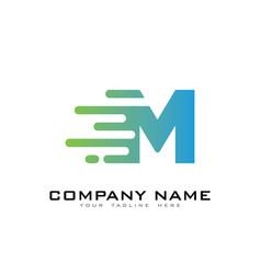 M speed letter logo icon design vector