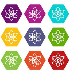 molecules of atom icon set color hexahedron vector image