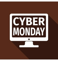 Monitor with Cyber Monday on screen flat icon long vector