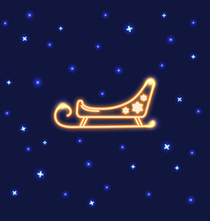 neon santa sleigh icon in line style vector image