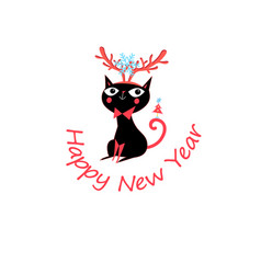 New year greeting card with funny cat vector