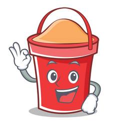 Okay bucket character cartoon style vector