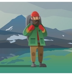 Old man with beard and backpack in the mountains vector