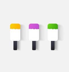 Paper clipped sticker ice cream vector