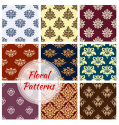 Pattern of floral damask seamless ornament vector