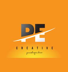 Pe p e letter modern logo design with yellow vector