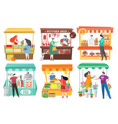 People at food market buy and sell farm products vector