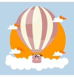 people kids flying in sky with hot balloon friends vector image vector image