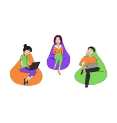 People sitting and working in a bean bag chair vector