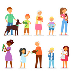 people with pet woman or man and children vector image