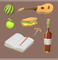 Picnic basket with food relaxation vacation vector