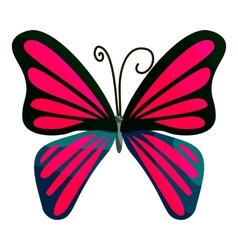 Pink butterfly icon cartoon style vector