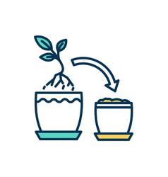 Plant transplant rgb color icon vector