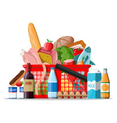 Plastic shopping basket with fresh products vector