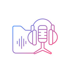 Podcasts library gradient linear icon vector