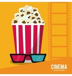 pop corn glasses movie film cinema icon vector image vector image