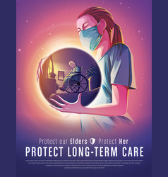 protect long-term care vector image