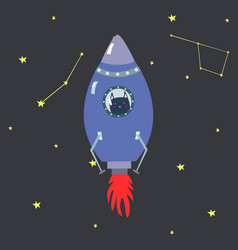 purple space shuttle with cute cartoon style dark vector image