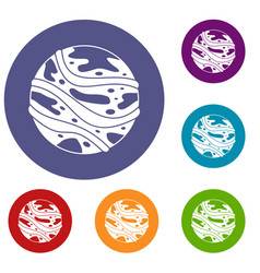 Round planet icons set vector