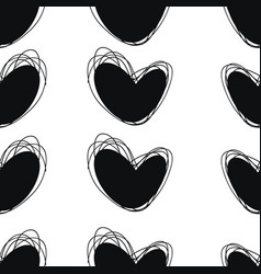 seamless doodle pattern heart hand drawings vector image