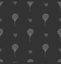 Seamless heart air balloon pattern on dark vector