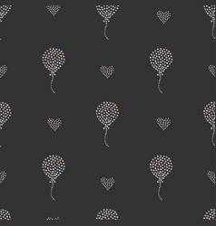 seamless heart air balloon pattern on dark vector image