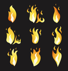 Set of animation fire and variou vector