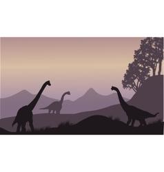 Silhouette of many brachiosaurus vector
