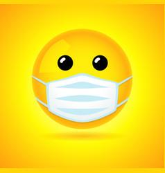 Smiling in medical mask vector