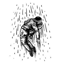 Soaring spaceman in space astronaut in solar vector