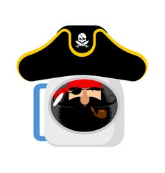 Space pirate astronaut in helmet filibuster vector