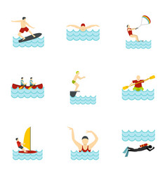 Summer sport icons set flat style vector