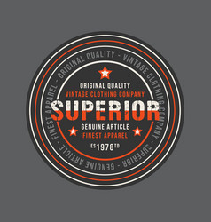 Superior vintage round stamp for denim or t-shirt vector
