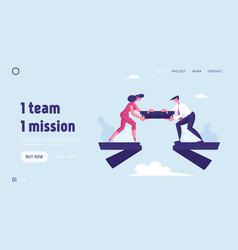 Team work website landing page people put piece vector