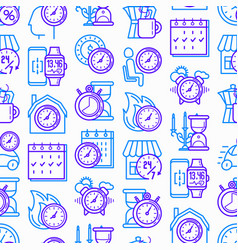 time seamless pattern with thin line icons vector image