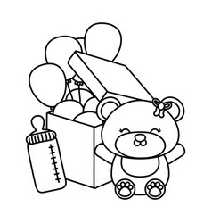 Toy bear with feeding bottle black and white vector