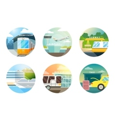 Transport stations flat icons set vector image vector image