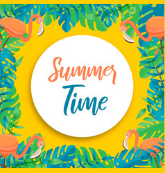 tropical summer time card flamingo and plants vector image
