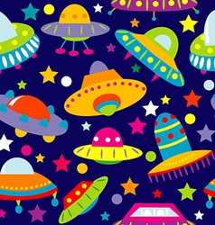 UFO cartoon seamless vector image