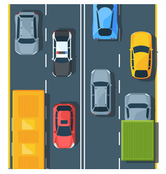urban traffic on highway top view flat vector image