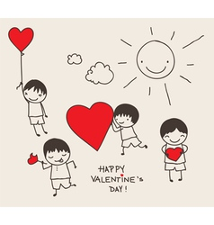 valentines day doodle vector image