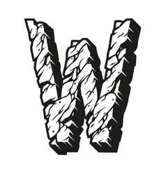 Vintage letter w monochrome template vector