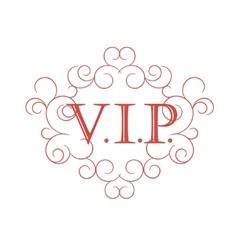 Vip symbol in scroll frame vector image